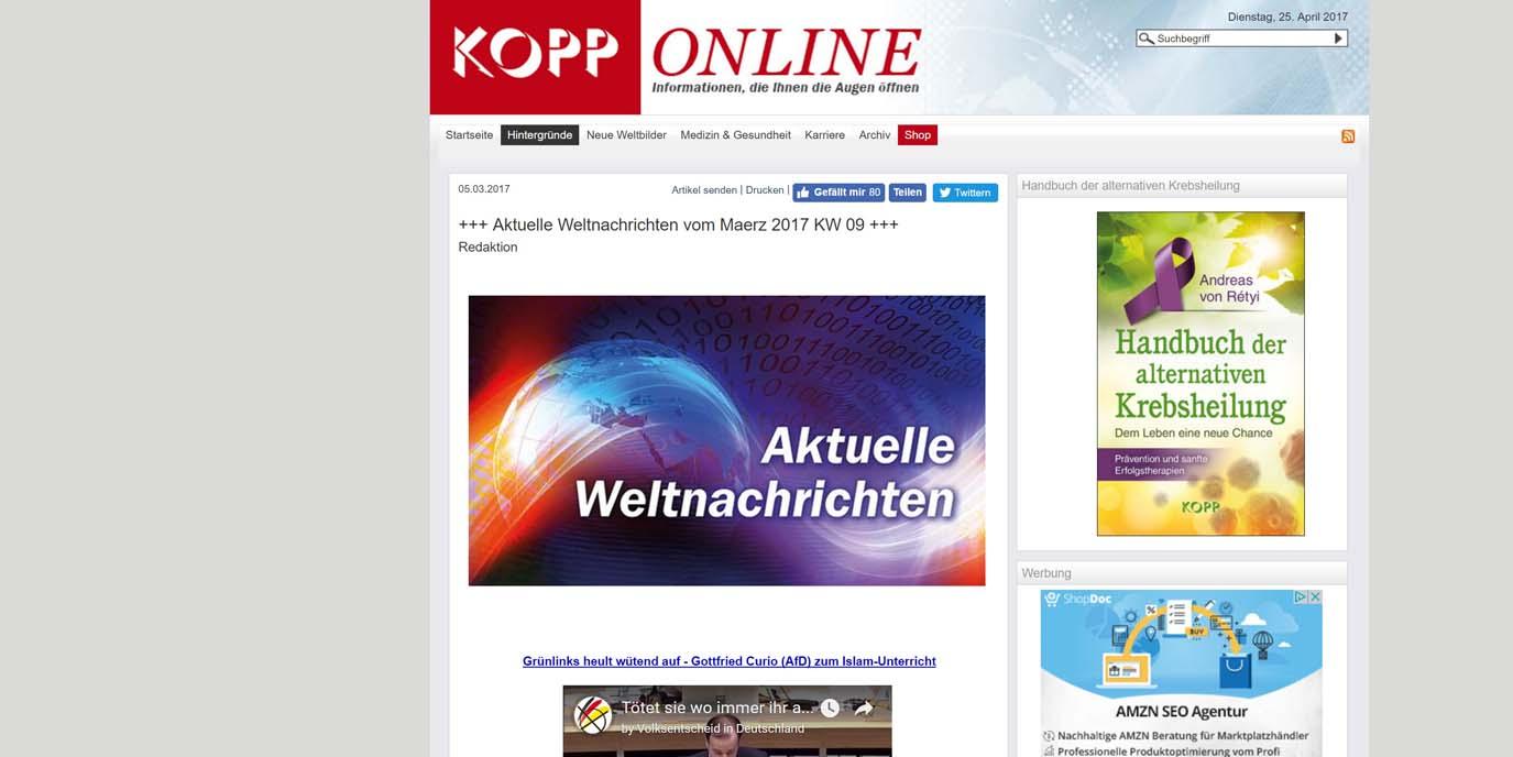 Medienportal Kopp-Online hat seine Aktivitäten eingestellt, Russland lacht